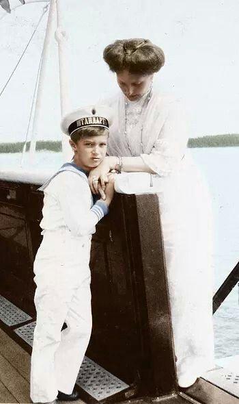 Tsarevich Alexei Nikolaevich Romanov of Russia with is mother, Empress Alexandra Feodorovna