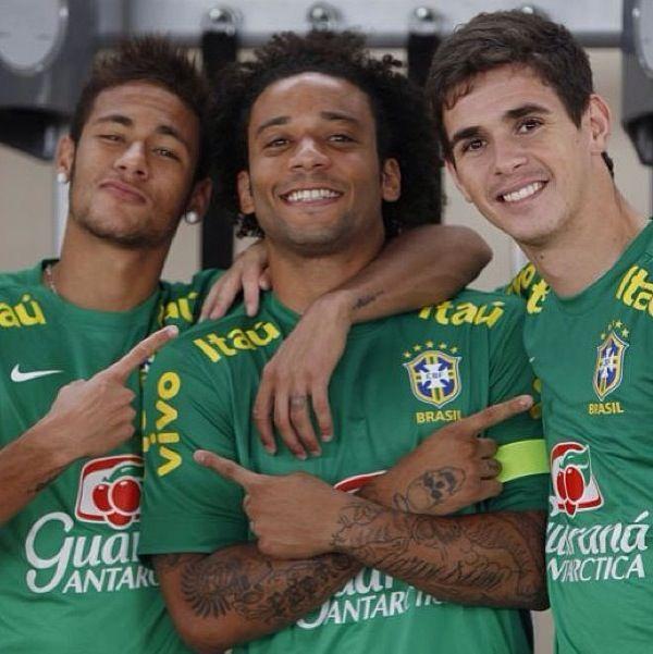 Oscar, Marcelo and Neymar  Brazil national football team