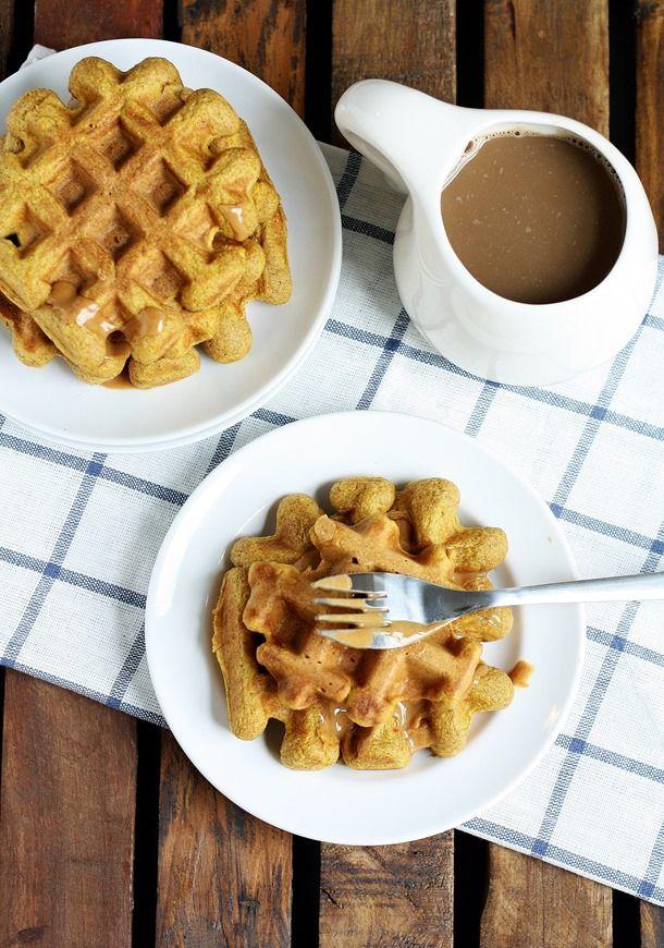 Pumpkin Pie Spiced Waffles Recipe — Dishmaps