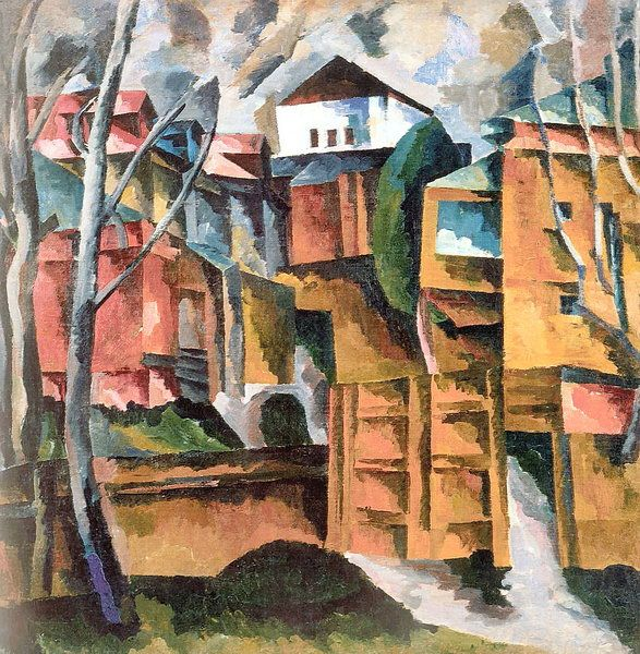 Landscape with white house and the yellow gate by Aristarkh Lentulov #cubofuturism
