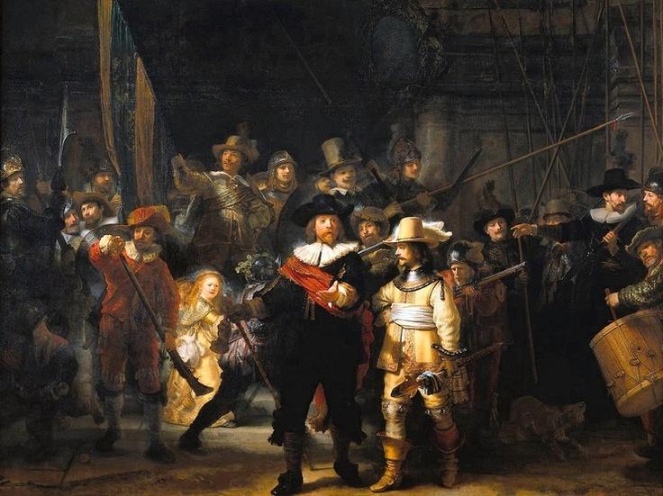 <야간순찰대, 렘브란트>  렘브란트는 빛과 어둠의 대비를 잘 활용한 화가이며, 자화상을 많이 남긴 것으로 유명하다. 그는 이그림에서 또한 자신의 얼굴을 숨겨놓았다. 가운데 맨 뒤쪽에서 금빛 투구를 쓴 남자의 어깨 뒤로 베레모를 쓴 남자의 곁눈질하는 눈 한쪽이 바로 렘브란트이다. 키가 작은 화가는 군중들 틈바구니에서 무슨 일이 일어났는지 구경하려고 간신히 발돋움하고 있는 듯하다. 렘브란트 특유의 독특한 유머 감각이 드러난다.