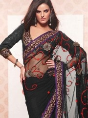 Crepe Sarees:- The blend of rose and black with sober purple border on NETT MONO A-2069 fabric make this an enchanting saree that will win every head at the party. Dark combined with tomato red blossom beads work make you look astonishingly gorgeous $77.86 matwali.com