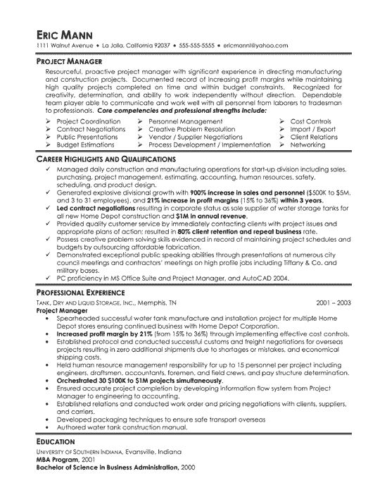 manufacturing project manager