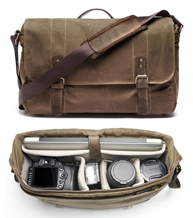 """Union Street Camera Bag  Let's assume your ideal look is a bit more """"urban casual"""" than """"Ohio tourist on vacation."""" To make sure you're following all the way through, try this handsome camera bag disguised as a messenger bag. The roomy, waxed cotton canvas tote holds your DSLR camera, 3 lenses, 15"""" laptop and more. So even if you're snapping photos of the sunset with a flash, you'll at least look good doing it."""