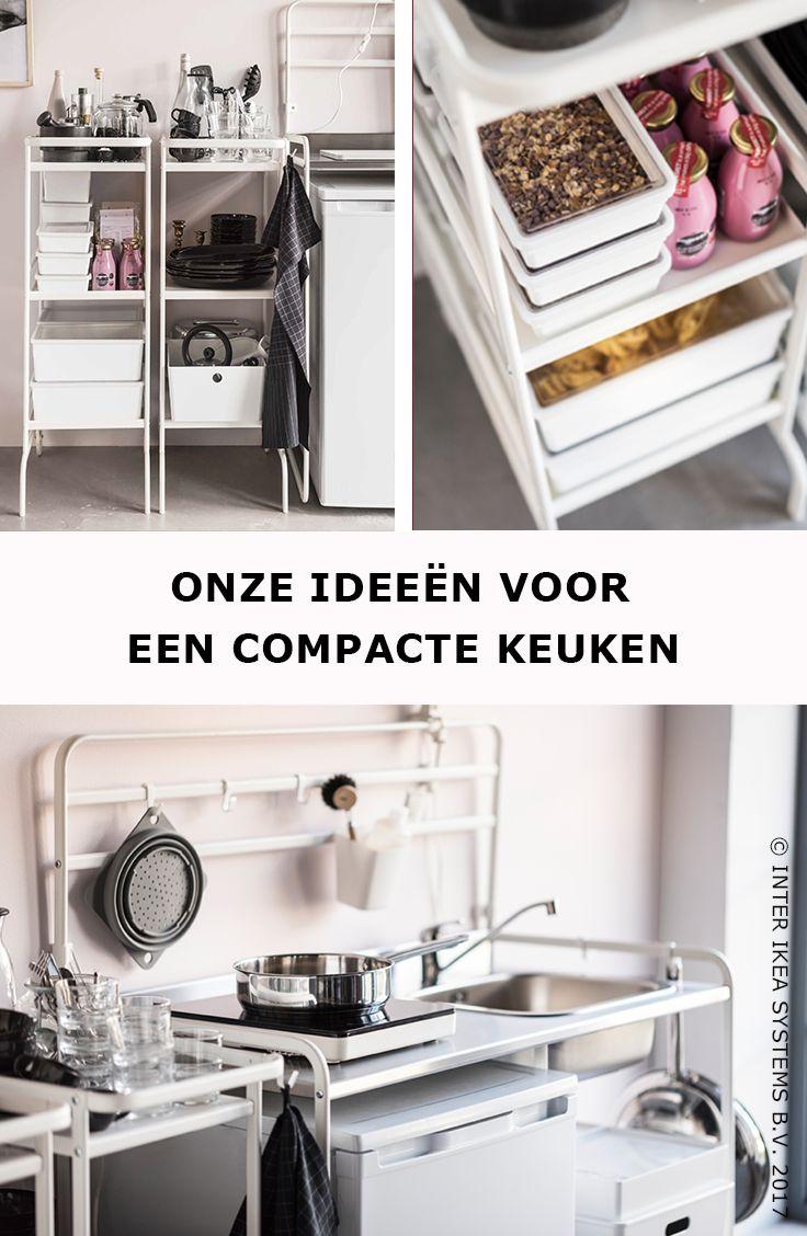 Wil je een compacte keuken? Ga efficiënt te werk! Gebruik twee roltafels als kasten en kies voor voorraadpotten en stapelbare bakken om al je keukengerei op te bergen. TILLSLUTA Pot met deksel, 4,99/st. #IKEABE #IKEAidee  Need a compact kitchen? Work efficiently! Use two trolleys as cabinets and go for jars and stackable boxes to store all your kitchenware. TILLSLUTA Jar with lid, 4,99/pce. #IKEABE #IKEAidea