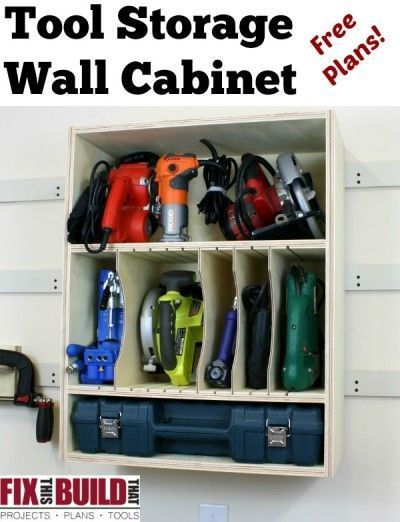 Tool Storage Wall Cabinet - Make this great tool organizer in an afternoon out of half a sheet of plywood. FixThisBuildThat.com