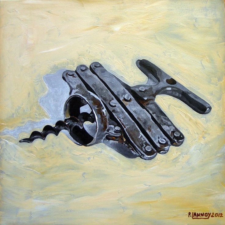 Patrice Lannoy, realistic painting, figurative, still life, hyperrealist corkscrew n°3, canvas paintings