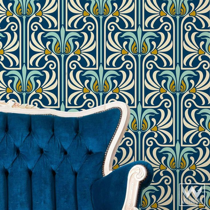 Art Deco and Art Nouveau Wall Murals - Retro Feather Damask Peel and Stick Adhesive Removable Wallpaper
