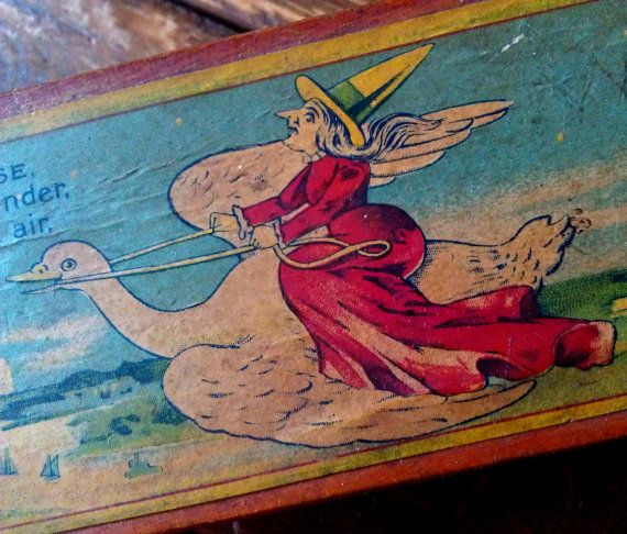 Early Mother Goose  Wooden Pencil Box - 1800s Childrens Toy