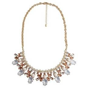 "Women's Fashion Statement Necklace With Stones- Gold/Pink/White (18"") : Target"