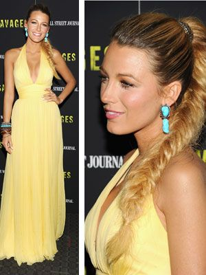 Blake Lively looked stunning at the NYC premiere of Savages. LOVE her yellow gown and fishtail braid!
