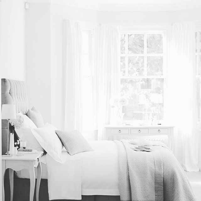 { D R E A M Y } Is there anything more deserved than a luxurious bedroom, a retreat from the stresses of the everyday!  Love the soft lines of this romantic bedroom in a palette of grey and white.  #bedroom #bedhead #white #greyandwhite #luxe #interiorinspiration #interiorstyling #interiordesign #interiors #french_dressing_furniture #frenchdressing