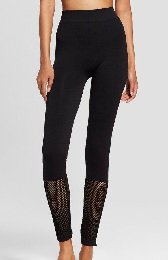 56a9165d10905 NWOT XHILARATION Women's Hosiery Leggings with mesh calves--Black S/M#Women #apos#NWOT