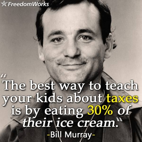Bill Murray, teaching kids about taxes