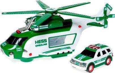 2012 Hess Truck Helicopter and Rescue Vehicles by Hess. $18.24. ?Real working lights including running lights that work in flash or steady mode, and a set of high powered pivoting searchlights. ?Motorized Main and Tail Rotors. ?Push-button activated cargo bay door release. ?3 authentic sounds: Ignition, Takeoff, and Fly By. ?Retractable landing gear. Take to the skies with two rugged vehicles ready for action and adventure!. Save 67%!
