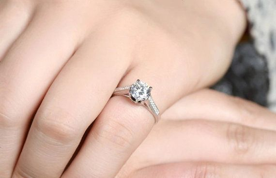 Wedding Promise Ring Round Cut Engagement Ring by DesignByIrenne