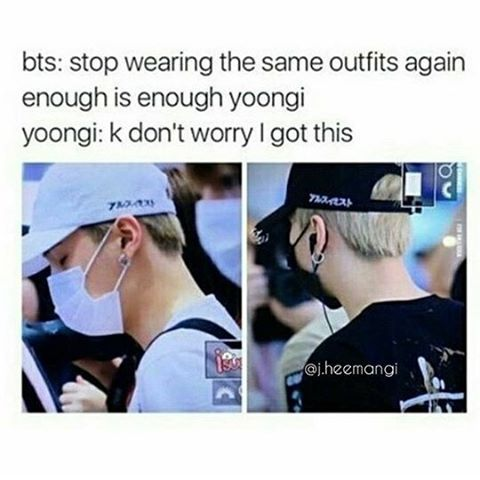Thats swag right there! The same hat in 2 different colors! SWAG.. SUGA.. SWAG.. Its either white or black day for Yoongi no in between lol ❤ #BTS #방탄소년단