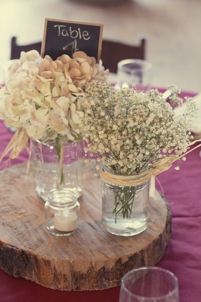 I think combining dried hydrangeas and baby's breath could look really good! From: My Country Rustic Pinterest Wedding | Nutrition by Shoshana