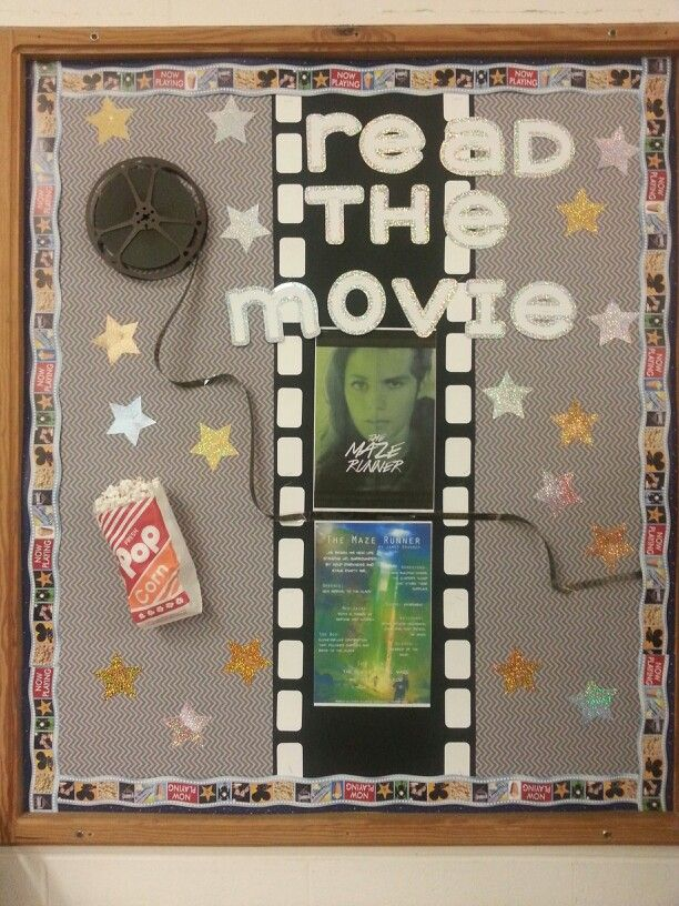 Read the Movie bulletin board - found an old movie reel at antique shop, movie border at teacher store, and stuffed a popcorn bag with paper and hot glue-gunned some popcorn to the top. Letters were cut with Cricut Extreme Fonts cartridge.