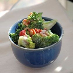 Alysons Broccoli Salad - Allrecipes.com. I boiled broccoli and use bacon chip, some chilli flake, salt and sprinkle chopped peanut