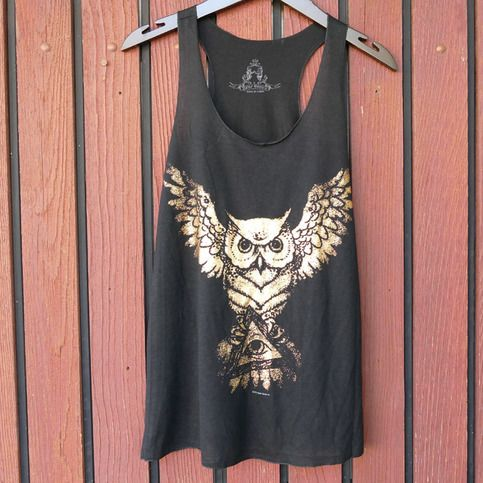 Illuminati Owl holding All Seeing Eye Tank!  The original Illuminati logo was the Owl of Minerva. Today, the All Seeing Eye has taken its place. Combine the old school with the new with this Owl Tank!
