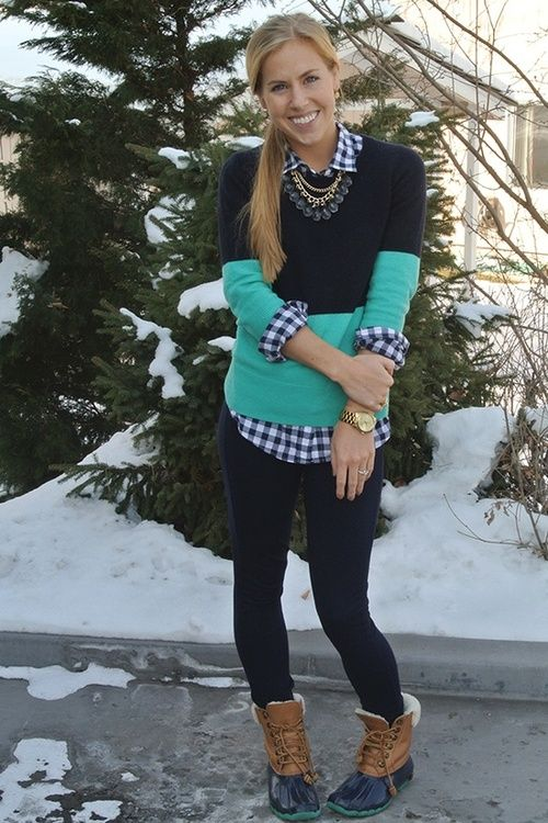 Colorblock sweater with plaid collar shirt and jeggings and LL Bean Duck boots: