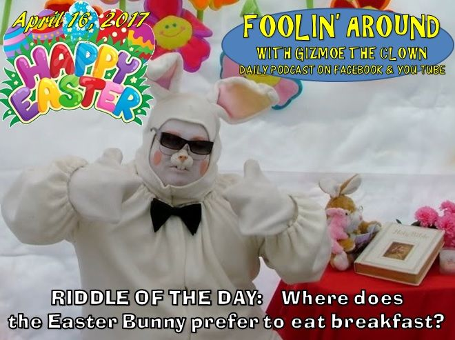Happy Easter my friends...I pray that you have a great day with your friends & family as you celebrate the holiday and be sure to set aside to time to relax...Today is not just Easter, it's also Stress Awareness Day and we are encouraged to find ways to relax and de-stress our lives.  Riddle of the day:  What is the Easter Bunny's favorite place to eat breakfast?  learn the answer to this & bid farewell to Jack Rabbit for another year on the April 16 episode of FOOLIN' AROUND WITH...JACK…