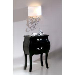 Nattbord+i+tre+med+to+skuffer+og+svart+overflate+og+dekorativt+håndtak+i+stål.+Leveres+ferdig+montert.+ $2,950.00