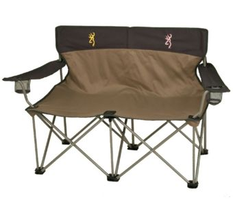 This Browning His and Hers camp chair. Yup, has a pink logo on the back where she sits.  Or get it for yourself, so you can chill in style! #camping #campfire #outdoors