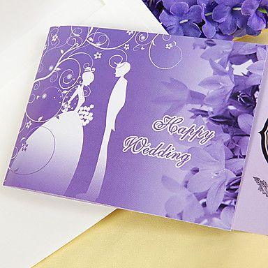 Romantic Bride & Groom Purple Wedding Invitation (Set of 60)