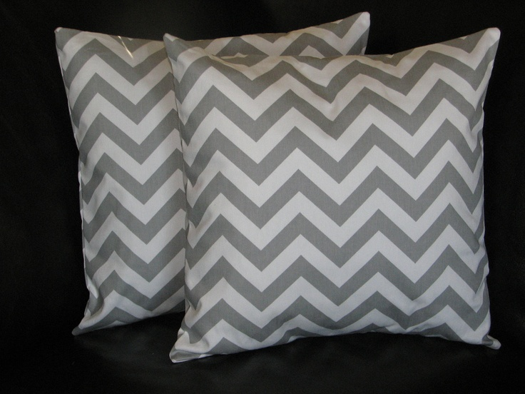 Accent Pillows Decorative Home Decor Pillow Covers gray 18 inch storm grey on white CHEVRON zigzag. $30.00, via Etsy.