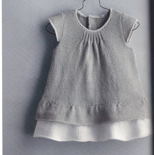so sweet, knit grey baby dress with a knit white underskirt. perfect.