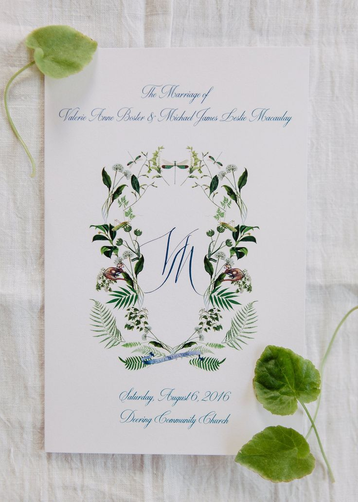 We worked with calligrapher and illustrator Stephanie Fishwick to design our save-the-dates and wedding invitations. The botanical crest she created became a motif for the rest of the wedding materials including our ceremony program. I wanted to represent the different flora and fauna of the property in New Hampshire, so she included ferns, wildflowers, grasshoppers, dragonflies, and otters.
