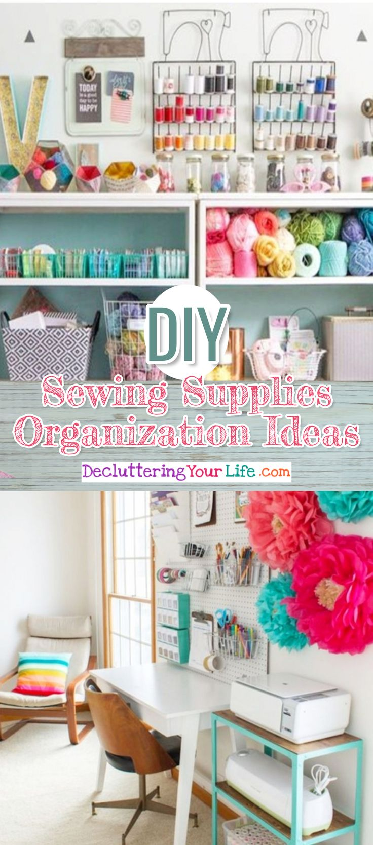 DIY Sewing Supplies Organization Ideas and easy ideas for organizing your craft room