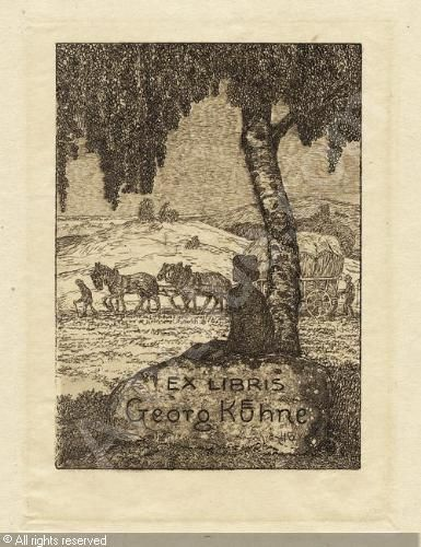 Bookplate by Heinrich Johann Vogeler for Georg Kuhne, ??