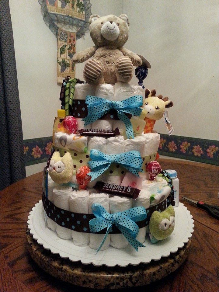 Boy Diaper Cake Decorations : Custom Three Tier Baby Boy Diaper Cake by Dakotastreasures ...