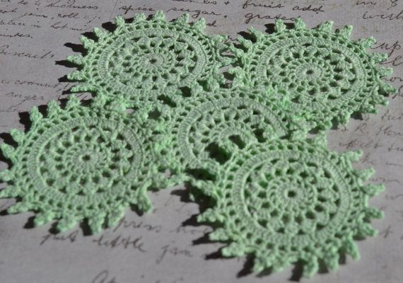 Sea Glass Green Crochet Doilies -  Hand dyed  by Raspberrytreats