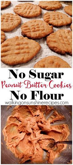 These peanut butter cookies are delicious and you will NOT miss the sugar at all, or the FLOUR. That's right, sugarless and flourless peanut butter cookies that taste amazing from Walking on Sunshine Recipes.