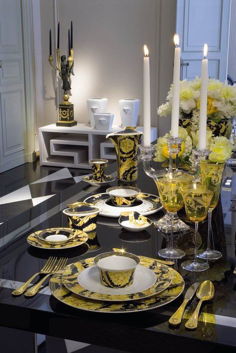 Modern table setting charcoal and yellow & 185 best China images on Pinterest   Versace home Porcelain and Dishes