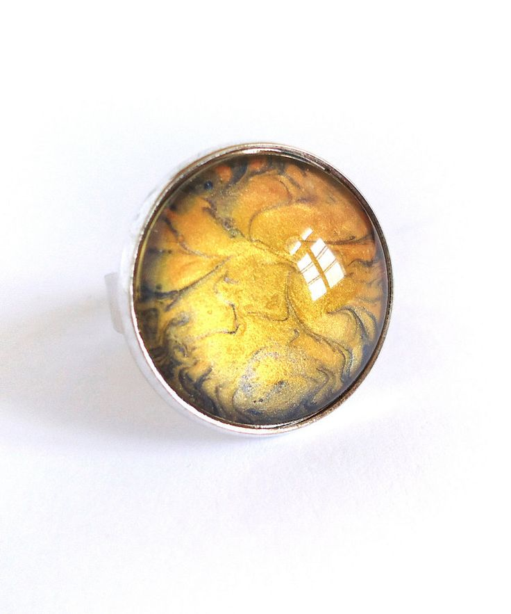 Yellow and navy blue ring adjustable ring hand painted by BakGuri
