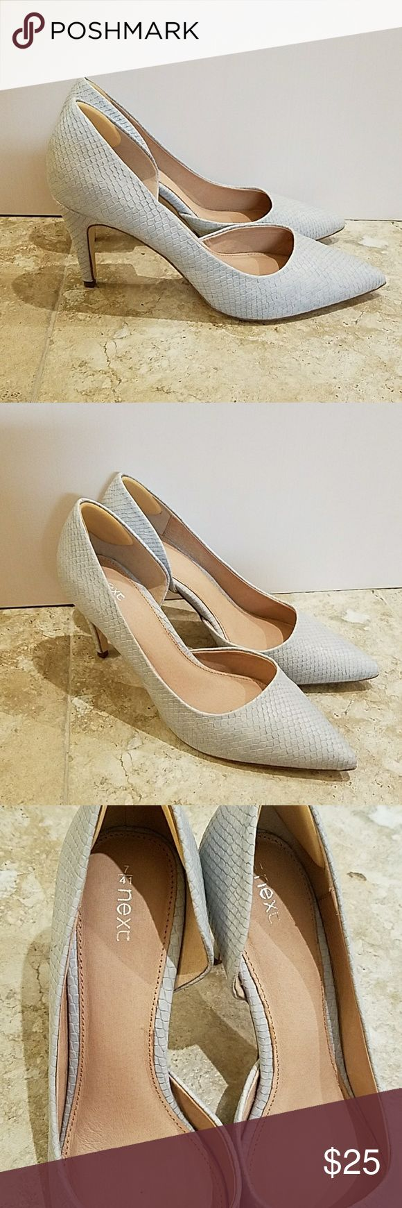 Final Markdown!🙄 Pale blue point court heels Lovely croc effect pale blue court shoes.  Almost silver/grey effect. Worn only twice!  In Pristine condition with very minimal wear on soles (pictured).  Just trying to downsize my wardrobe nothing wrong with these shoes whatever.  NEXT brand from UK.  A very well made pair of shoes you will get a lot of wear out of these!  Happy poshing☺ Next Shoes Heels