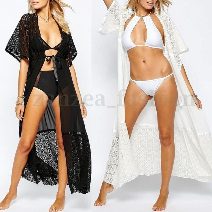 S-5XL ZANZEA Damen Sommer Kurzarm Lace Crochet Maxi Kleid Boho Strand Kimono Top in Kleidung & Accessoires, Damenmode, Bademode   eBay!