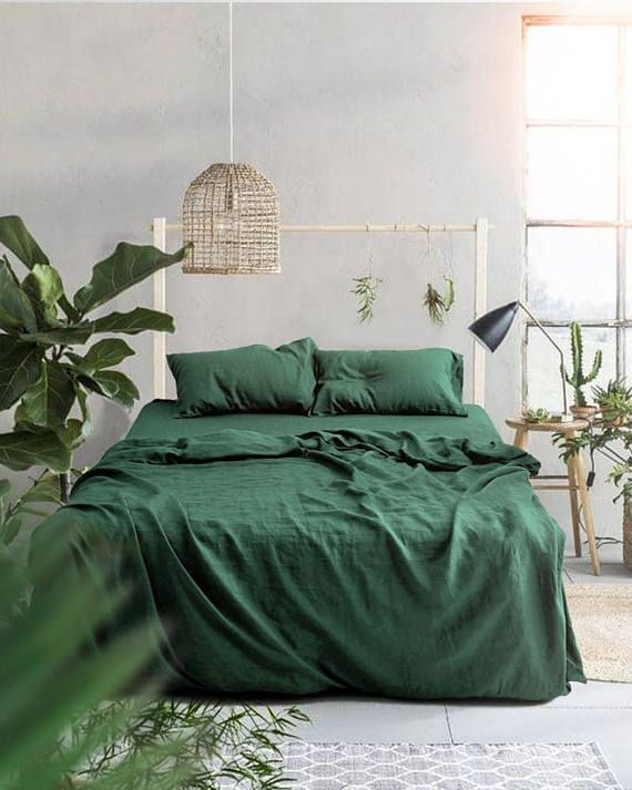 3 Piece Linen Bedding Set Forest Green Linen Duvet Cover 2 Uniqueduvetcovers Bed Linen Sets Bedroom Green Bed Linens Luxury