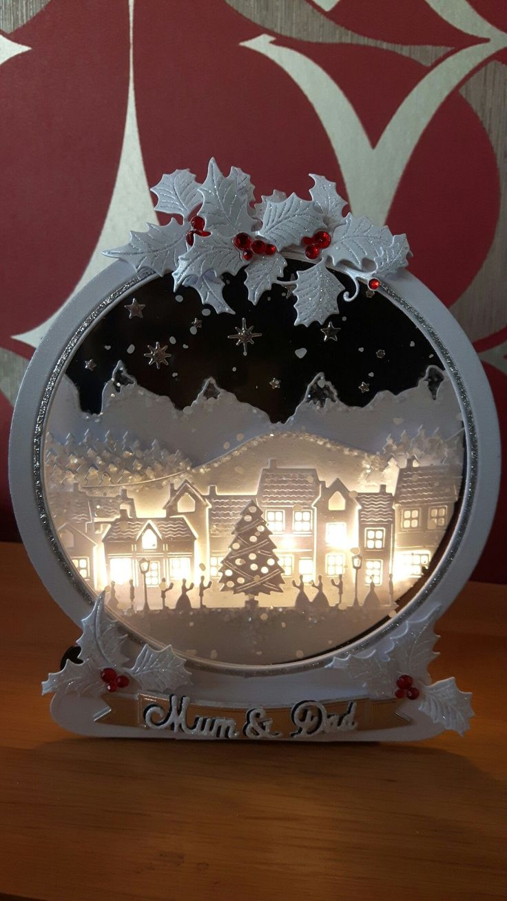 Tattered Lace Snow Globe with Lights in 2020 Diy
