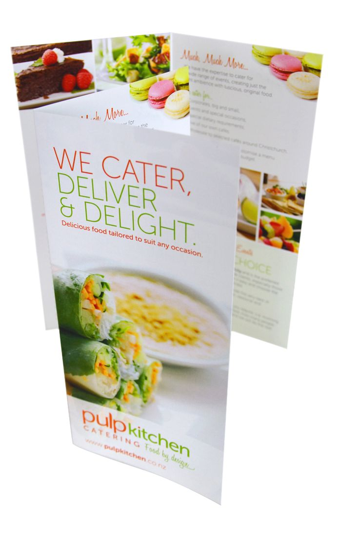 Pulp Kitchen Catering Flyers promoting the catering side to the business. Yummy food!! http://www.pulpkitchen.co.nz/pulp-cafe/