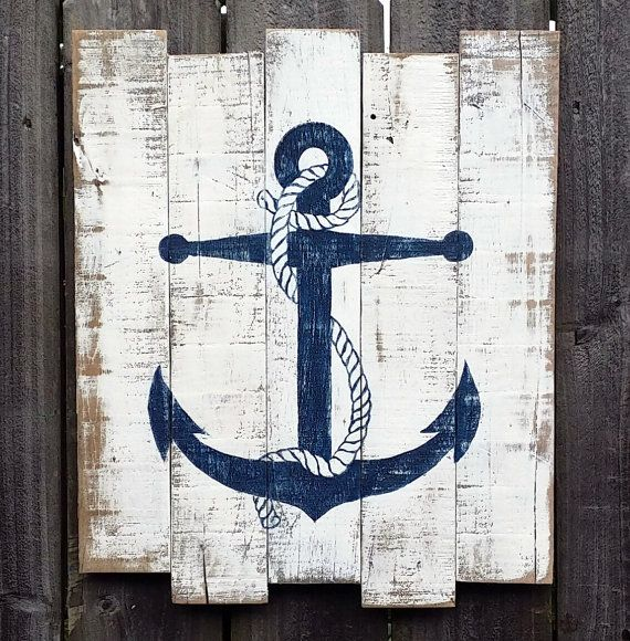 This handmade sign would be a perfect addition to any beach decor. It is handpainted with distressed chalk paint and made from reclaimed wood and