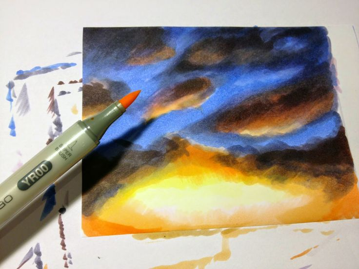 Copic Marker Europe: Tutorial: Skies