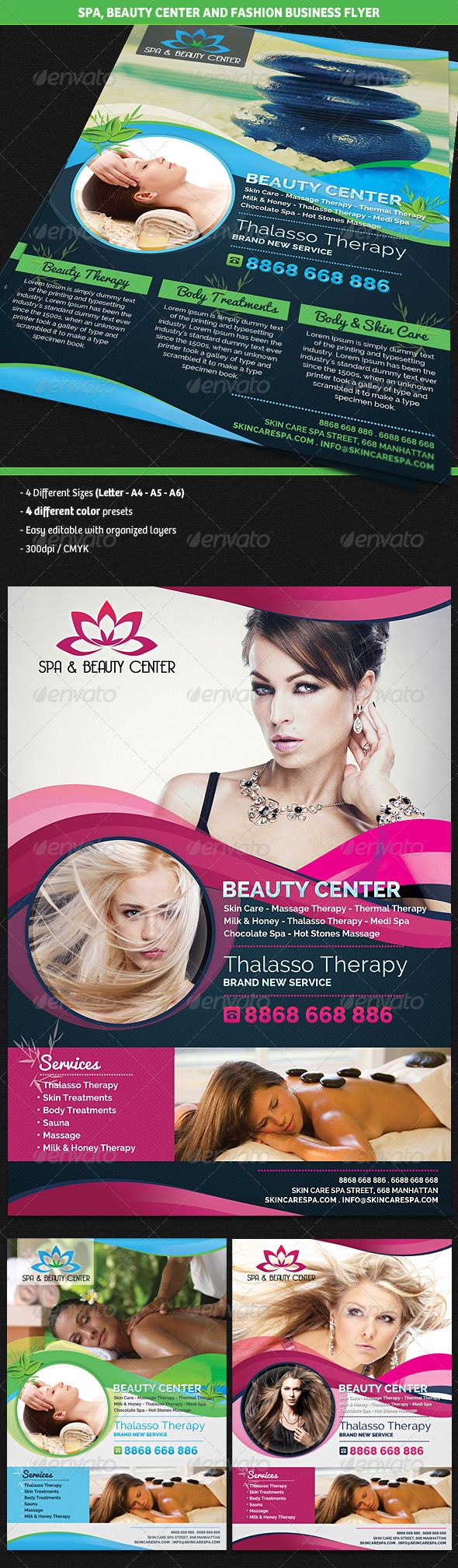 Spa & Beauty Fashion Center Business Flyer #GraphicRiver Description A professional, modern and eye catching business flyer perfect for any Spa, Beauty Fashion Center, Hairdresser or Hair Stylist consultancy activity. Content – 4 different sizes included: US Letter / A4 / A5 / A6 – 4 Different color presets included – 300dpi / CMYK included – Layered and easy editable Fonts Raleway Pacifico Created: 24June13 GraphicsFilesIncluded: PhotoshopPSD Layered