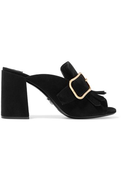 Heel measures approximately 85mm/ 3.5 inches Black suede Slip on Made in Italy