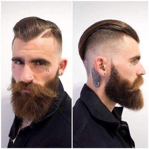 Espectacular degradado extremo con #barba en nuestro tablero de #Pinterest http://es.pinterest.com/SantanaHairArt/mens-haircuts-styles/